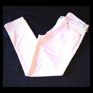 White High Stretch Skinny Mid Rise Gap Jeans 36x32